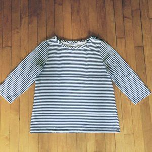 Gray White Stripe Breton French Terry Top